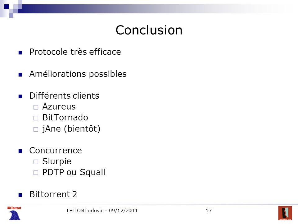 Conclusion Protocole très efficace Améliorations possibles