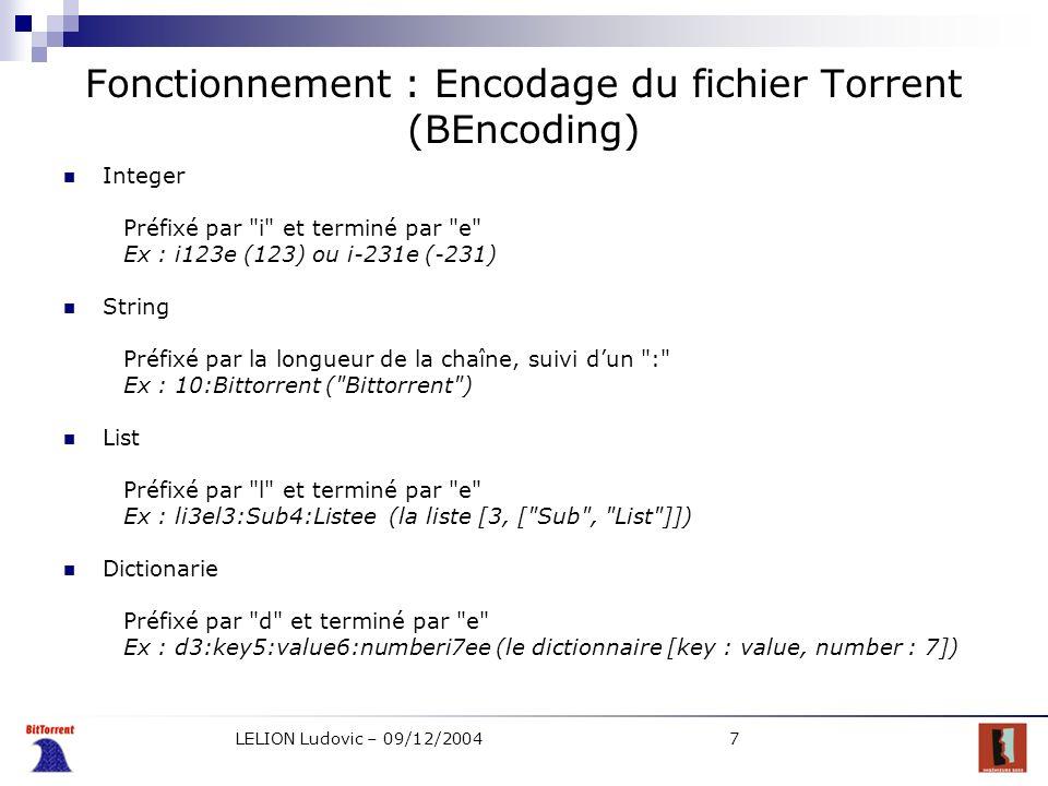 Fonctionnement : Encodage du fichier Torrent (BEncoding)