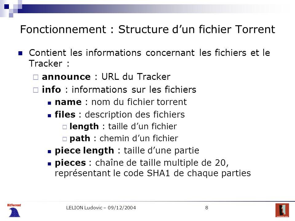 Fonctionnement : Structure d'un fichier Torrent