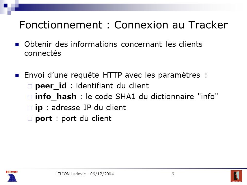 Fonctionnement : Connexion au Tracker