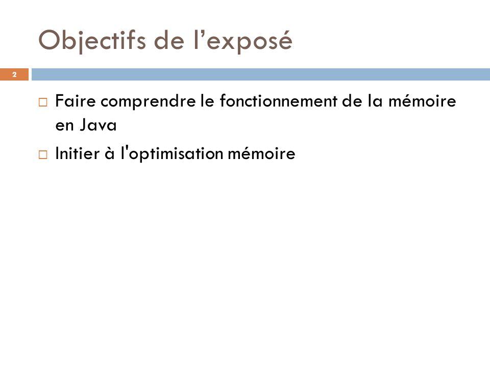 Objectifs de l'exposé Faire comprendre le fonctionnement de la mémoire en Java. Initier à l optimisation mémoire.
