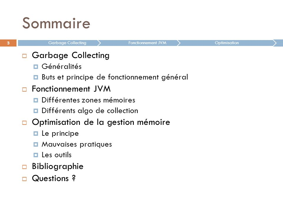 Sommaire Garbage Collecting Fonctionnement JVM