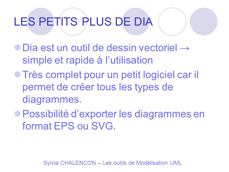 LES PETITS PLUS DE DIA Dia est un outil de dessin vectoriel → simple et rapide à l'utilisation.
