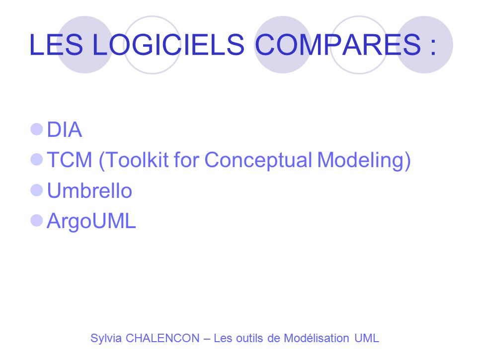 LES LOGICIELS COMPARES :