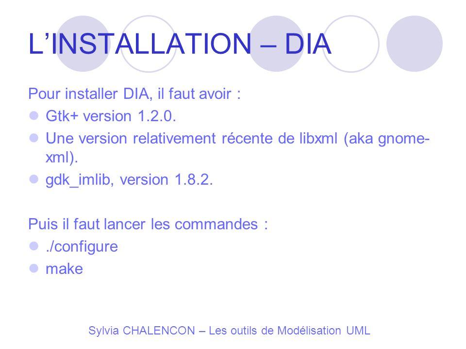 L'INSTALLATION – DIA Pour installer DIA, il faut avoir :