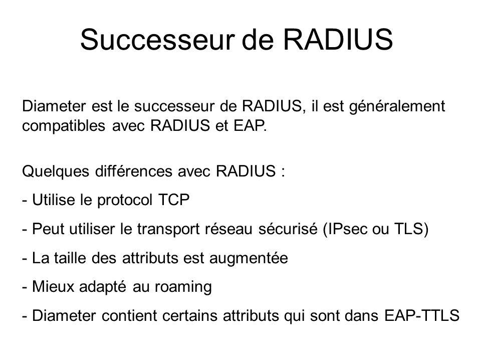 Successeur de RADIUS Diameter est le successeur de RADIUS, il est généralement compatibles avec RADIUS et EAP.