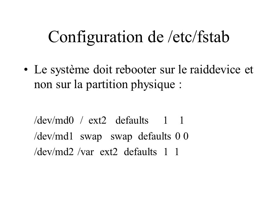 Configuration de /etc/fstab