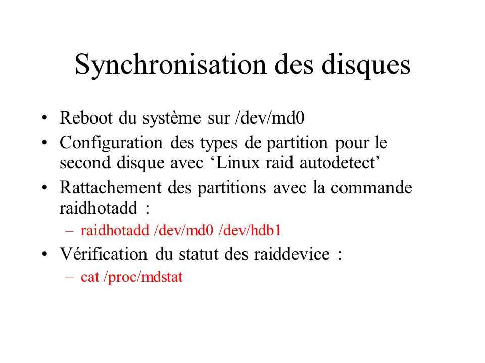 Synchronisation des disques