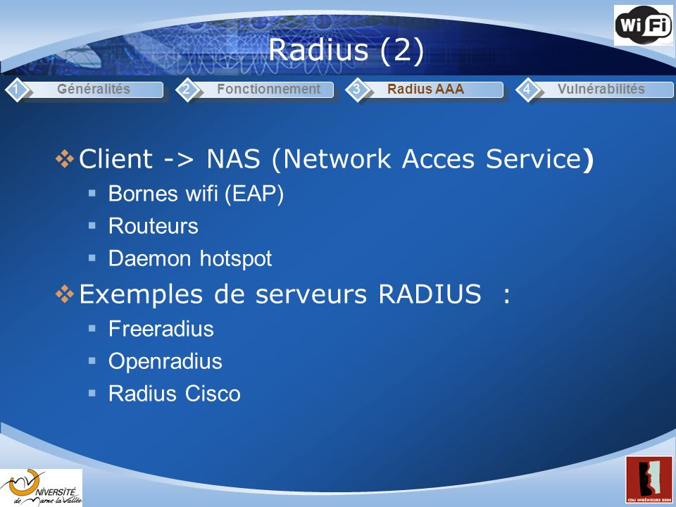 Radius (2) Client -> NAS (Network Acces Service)