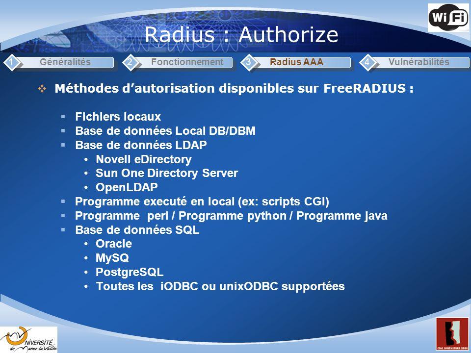 Radius : Authorize 1. Généralités. 2. Fonctionnement. 3. Radius AAA. 4. Vulnérabilités. Méthodes d'autorisation disponibles sur FreeRADIUS :