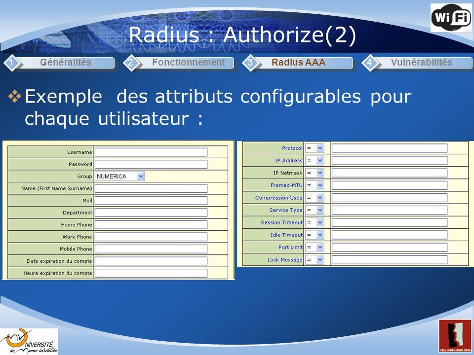Radius : Authorize(2) 1. Généralités. 2. Fonctionnement. 3. Radius AAA. 4. Vulnérabilités.