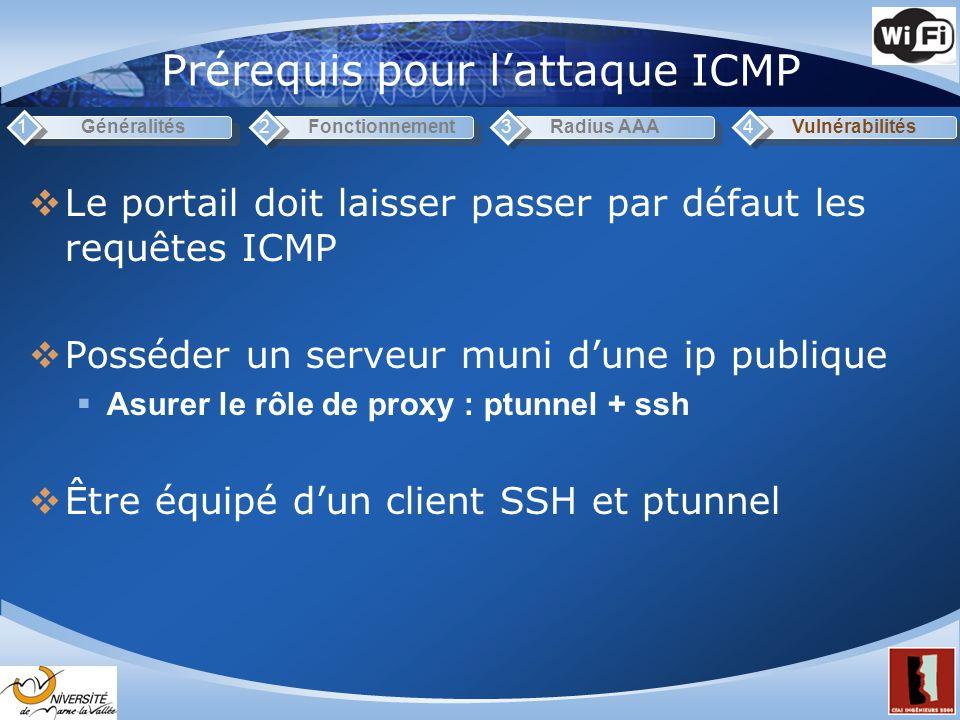 Prérequis pour l'attaque ICMP