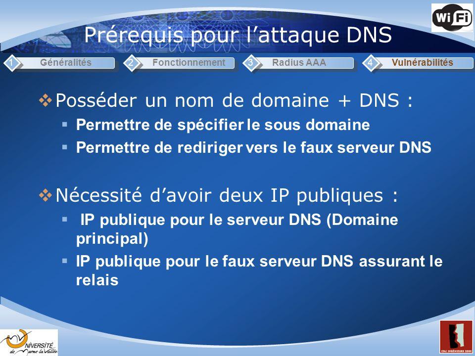 Prérequis pour l'attaque DNS