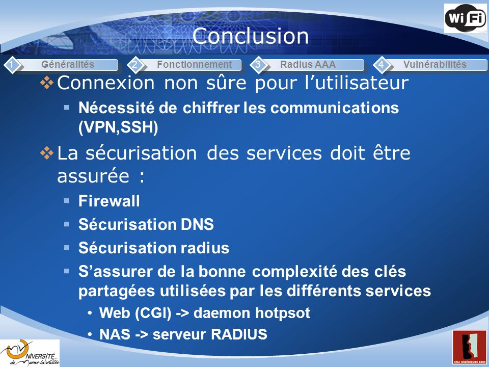 Conclusion Connexion non sûre pour l'utilisateur