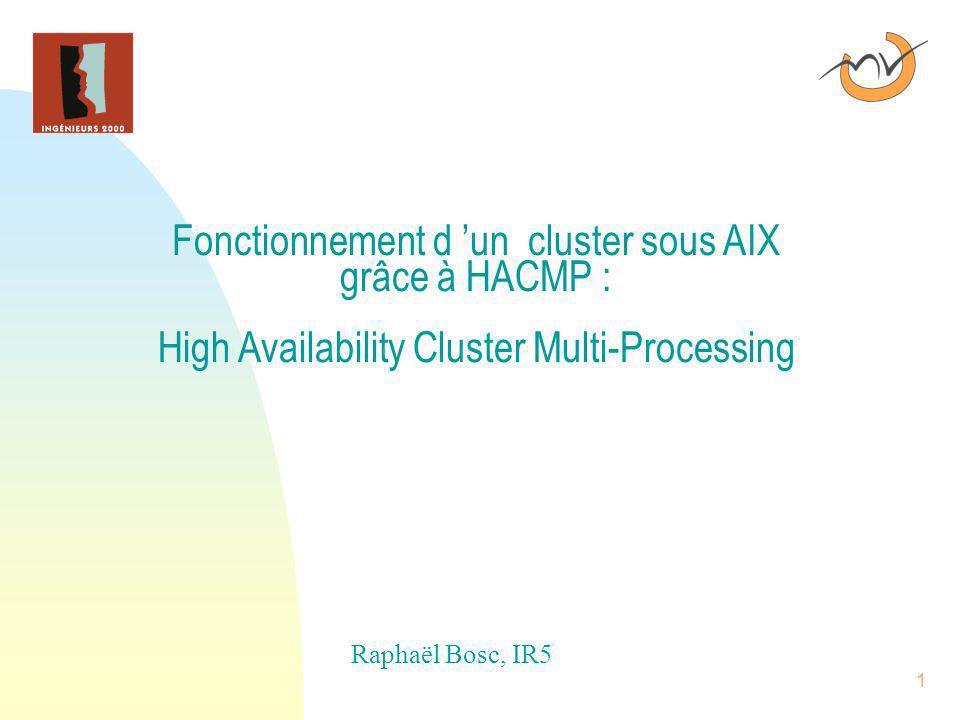 26/03/2017 Fonctionnement d 'un cluster sous AIX grâce à HACMP : High Availability Cluster Multi-Processing.