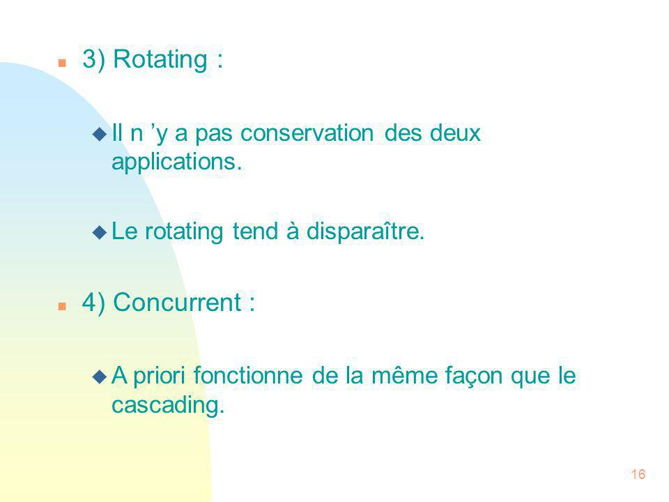 3) Rotating : 4) Concurrent :