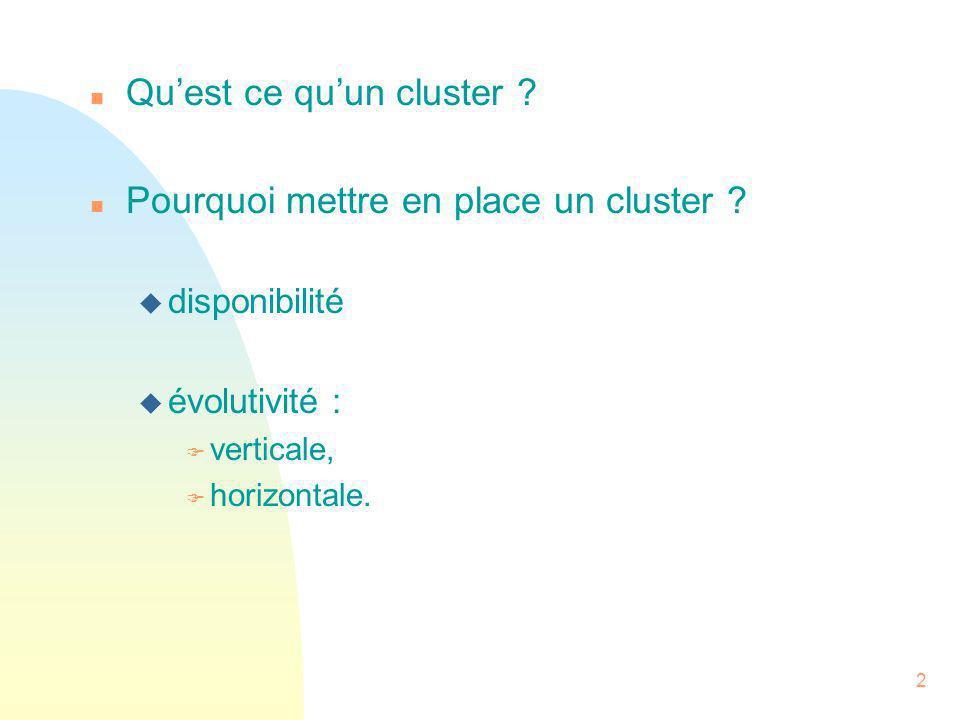 Qu'est ce qu'un cluster Pourquoi mettre en place un cluster