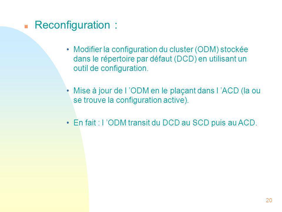 Reconfiguration : Modifier la configuration du cluster (ODM) stockée dans le répertoire par défaut (DCD) en utilisant un outil de configuration.