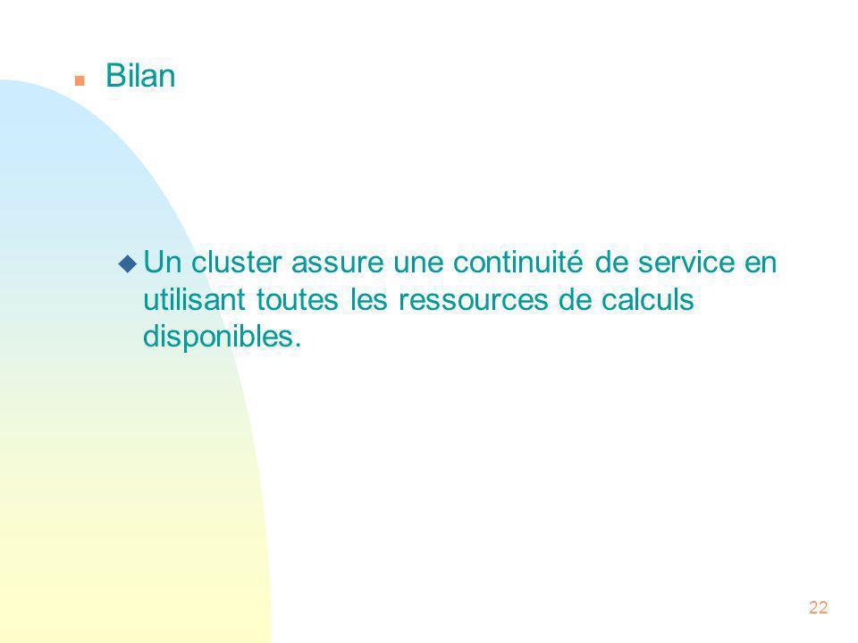 Bilan Un cluster assure une continuité de service en utilisant toutes les ressources de calculs disponibles.