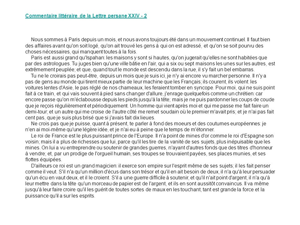 Commentaire littéraire de la Lettre persane XXIV - 2