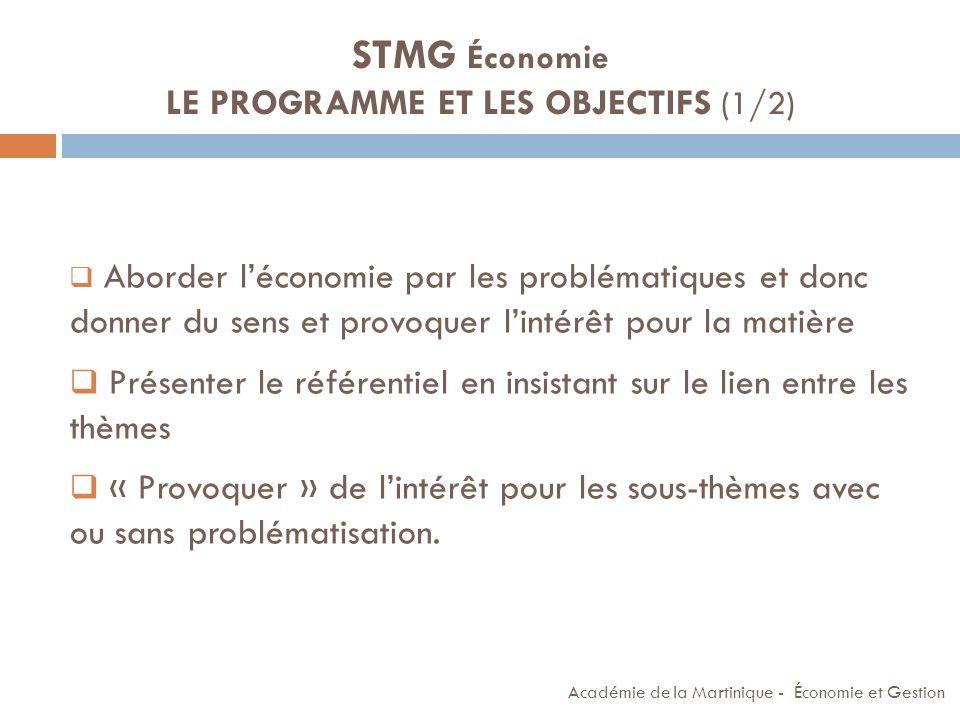 STMG Économie LE PROGRAMME ET LES OBJECTIFS (1/2)