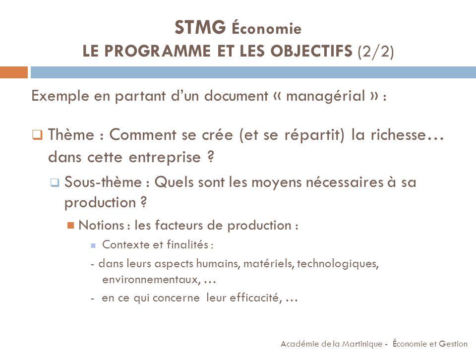 STMG Économie LE PROGRAMME ET LES OBJECTIFS (2/2)
