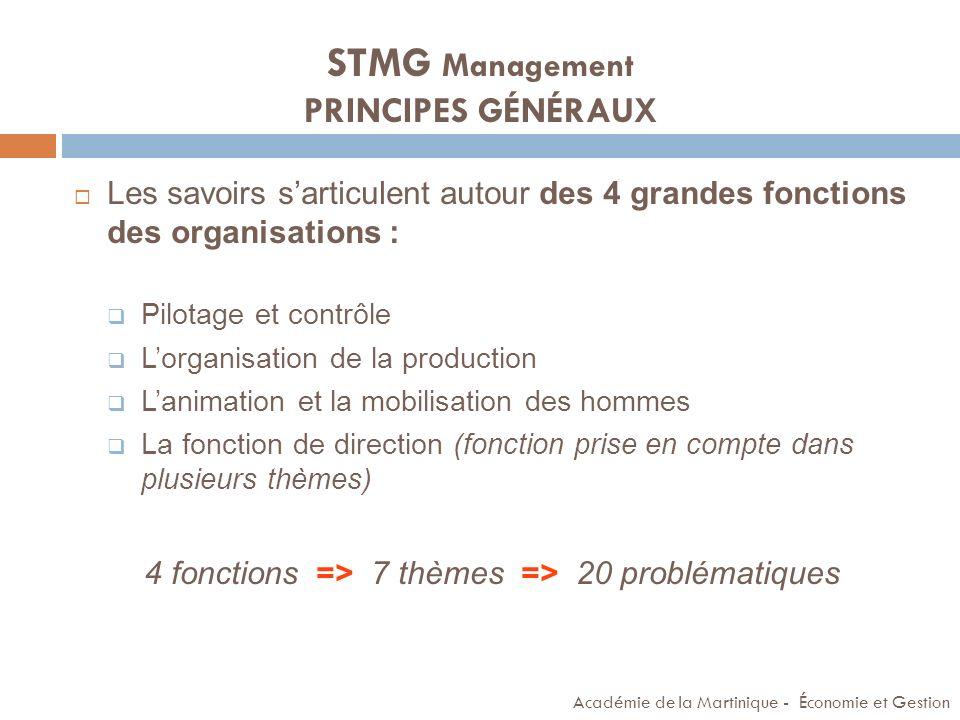 STMG Management PRINCIPES GÉNÉRAUX