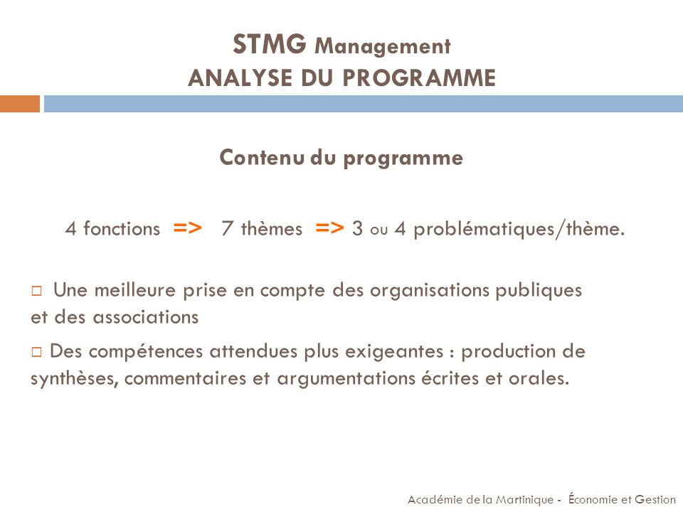 STMG Management ANALYSE DU PROGRAMME