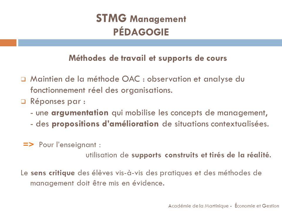 STMG Management PÉDAGOGIE
