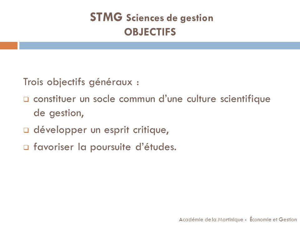 STMG Sciences de gestion OBJECTIFS