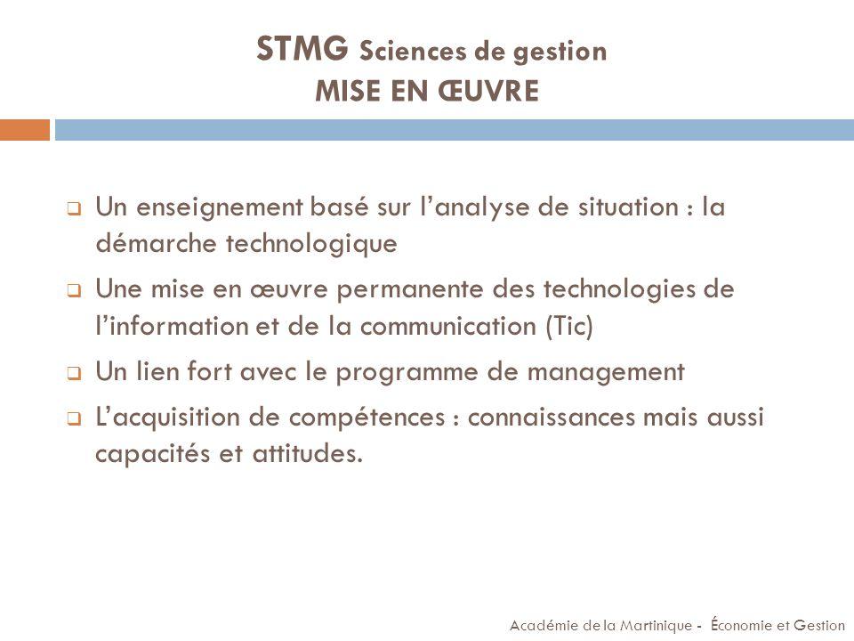 STMG Sciences de gestion MISE EN ŒUVRE