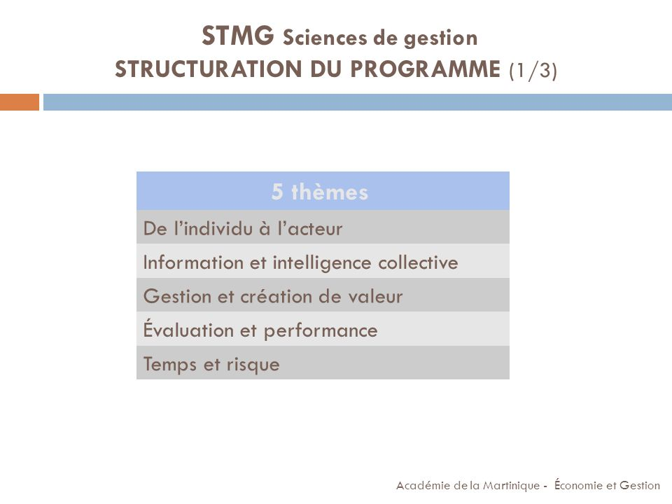 STMG Sciences de gestion STRUCTURATION DU PROGRAMME (1/3)