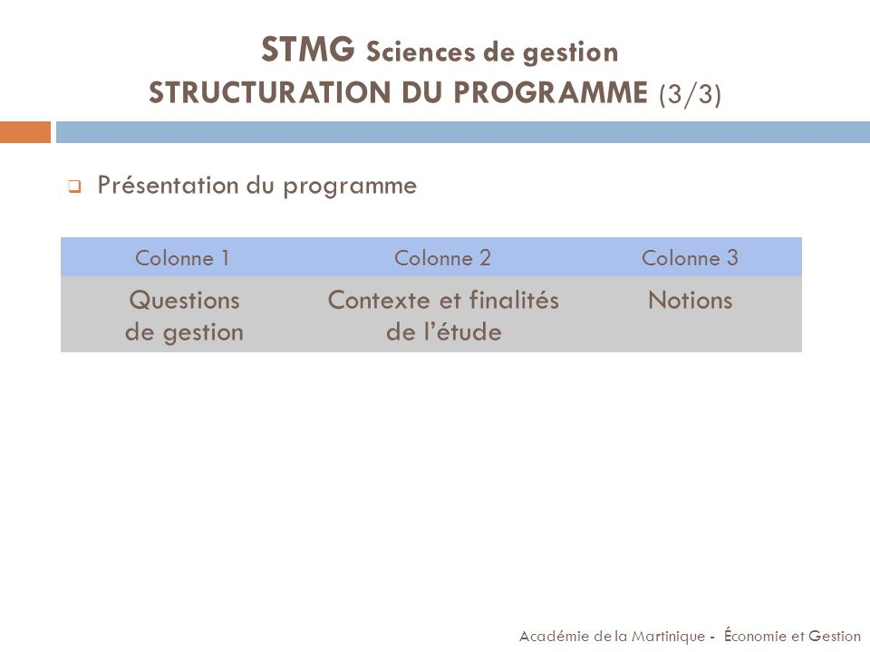 STMG Sciences de gestion STRUCTURATION DU PROGRAMME (3/3)