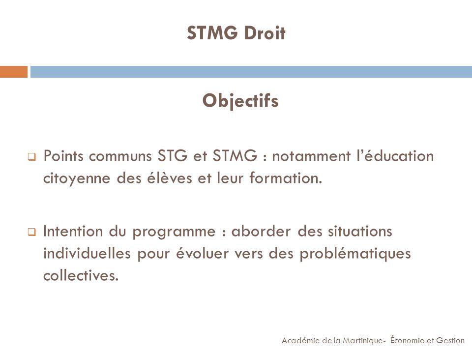 STMG Droit Objectifs. Points communs STG et STMG : notamment l'éducation citoyenne des élèves et leur formation.