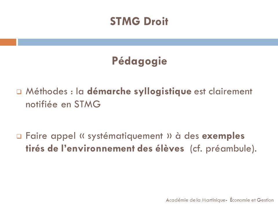 STMG Droit Pédagogie. Méthodes : la démarche syllogistique est clairement notifiée en STMG.