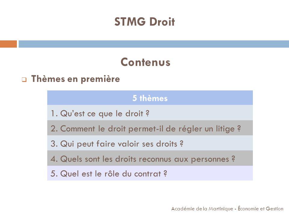 STMG Droit Contenus Thèmes en première 5 thèmes