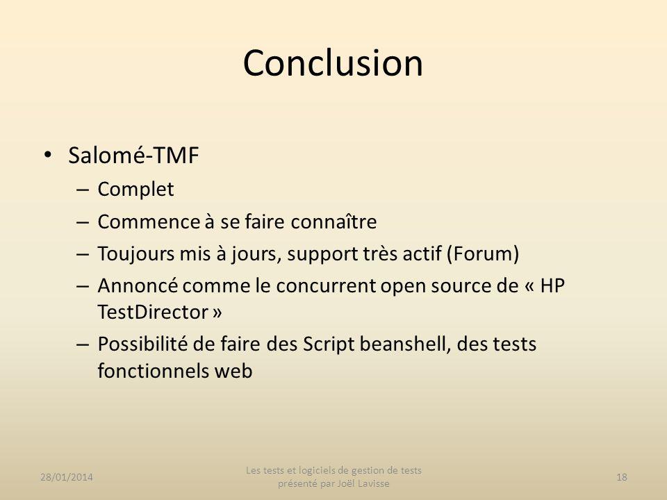 Les tests et logiciels de gestion de tests présenté par Joël Lavisse