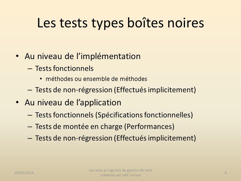 Les tests types boîtes noires