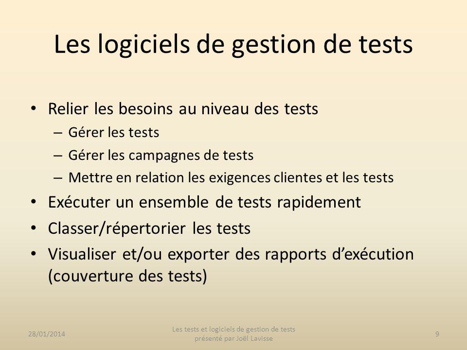 Les logiciels de gestion de tests