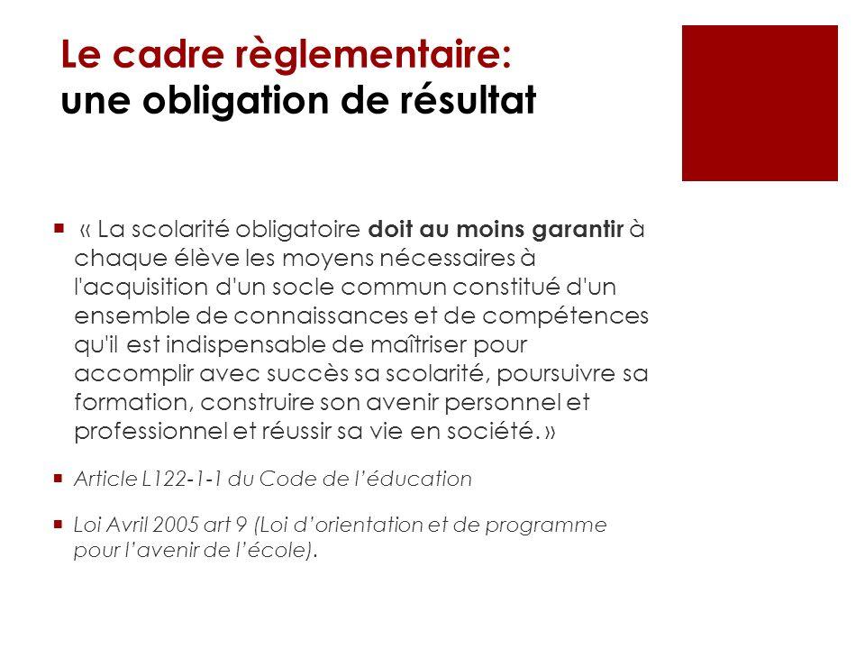 Le cadre règlementaire: une obligation de résultat