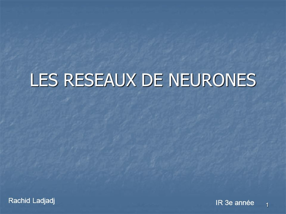 LES RESEAUX DE NEURONES