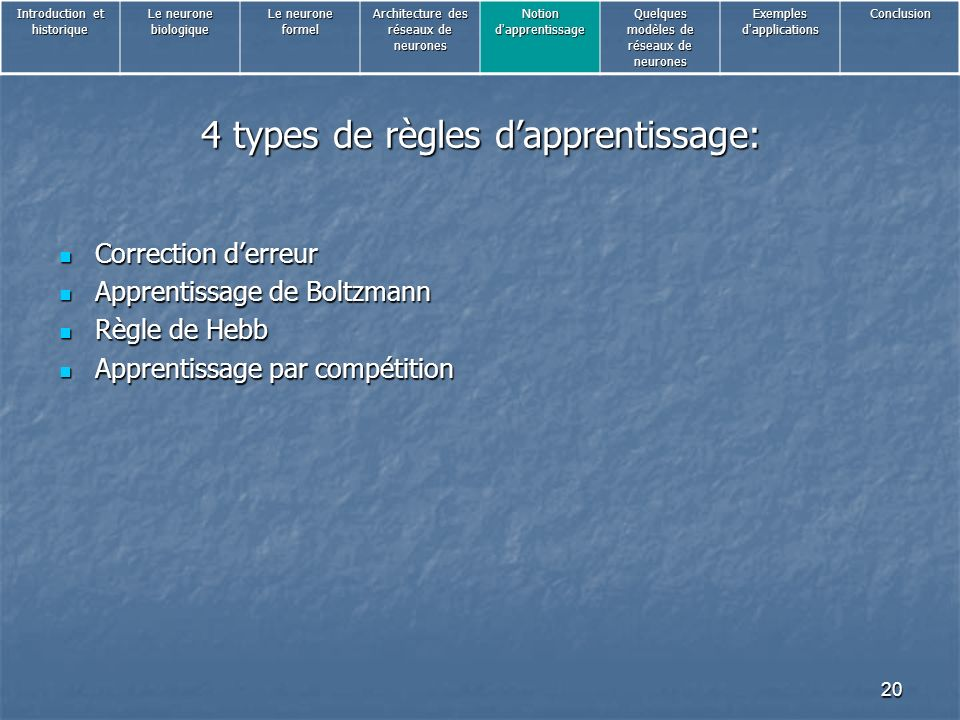 4 types de règles d'apprentissage: