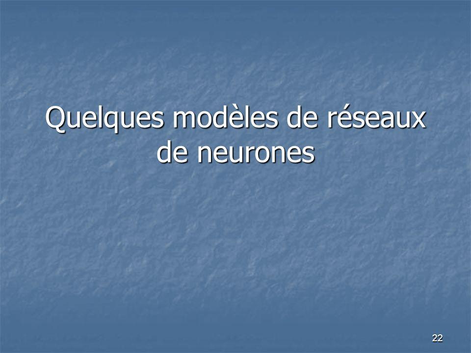 Quelques modèles de réseaux de neurones