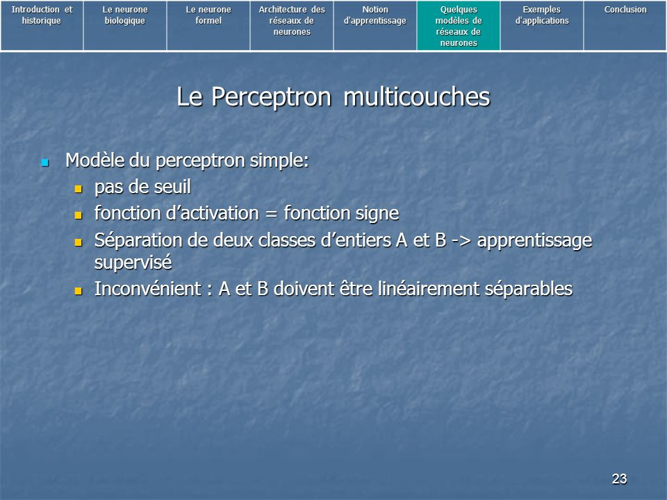 Le Perceptron multicouches