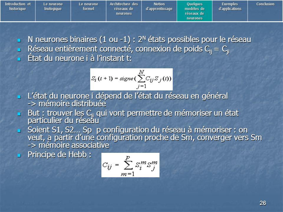 N neurones binaires (1 ou -1) : 2N états possibles pour le réseau