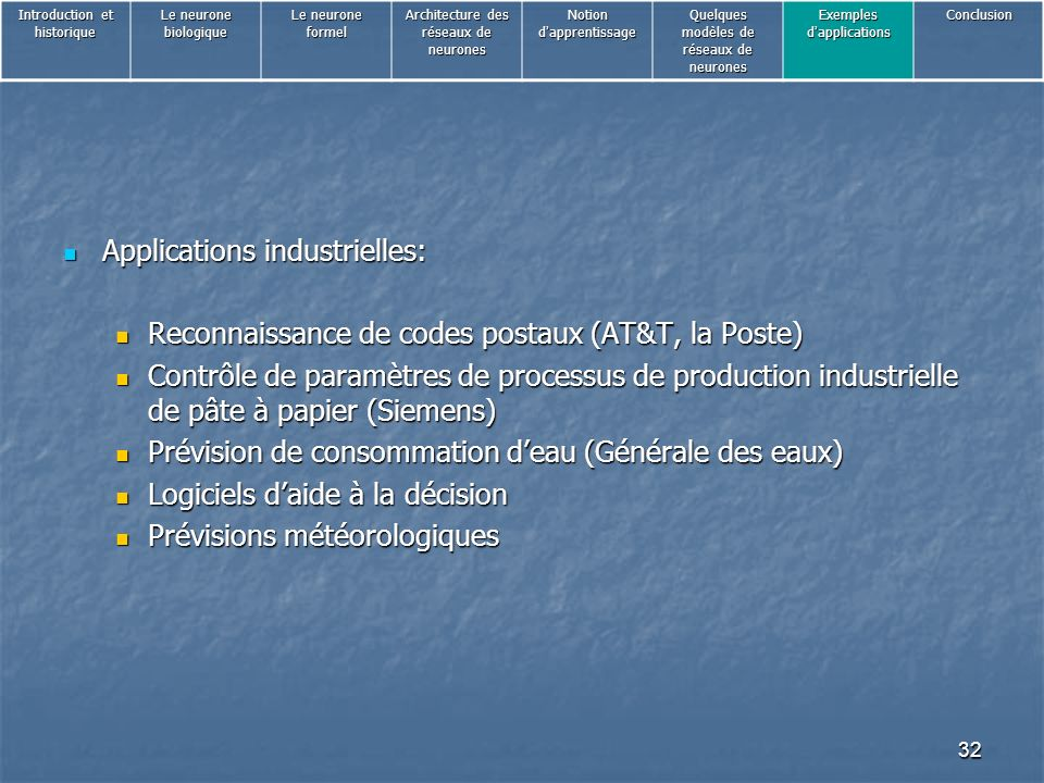 Applications industrielles: