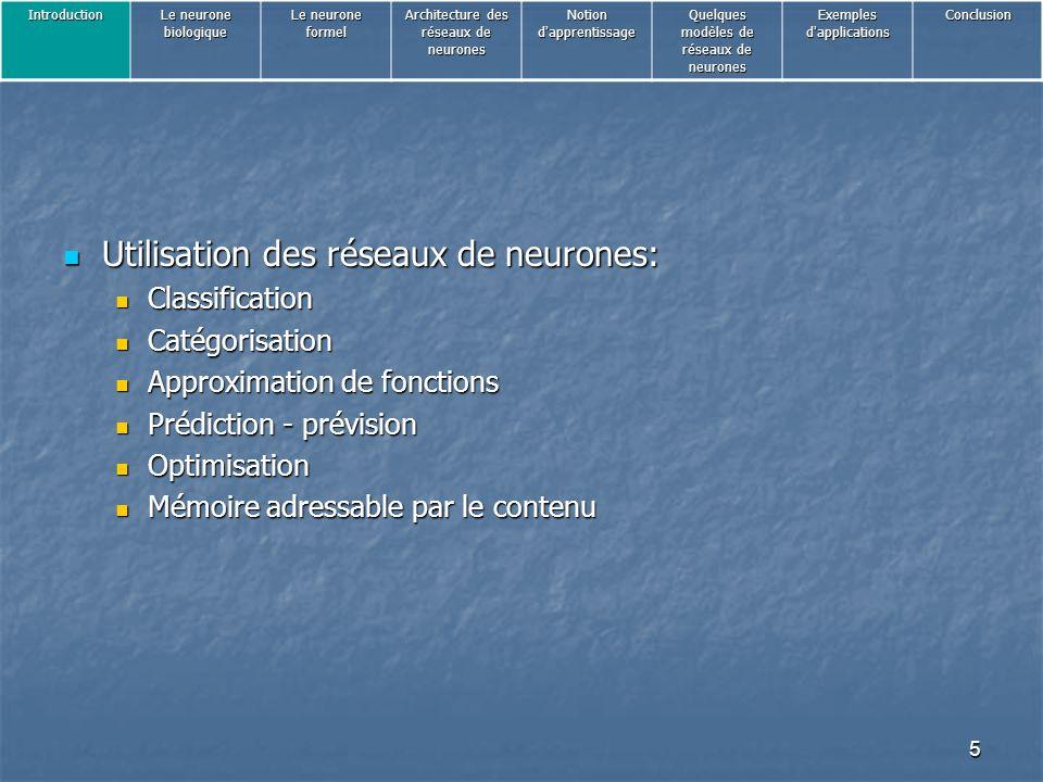 Utilisation des réseaux de neurones: