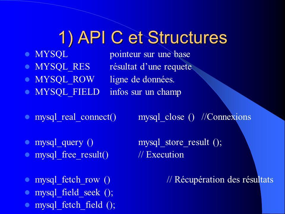 1) API C et Structures MYSQL pointeur sur une base