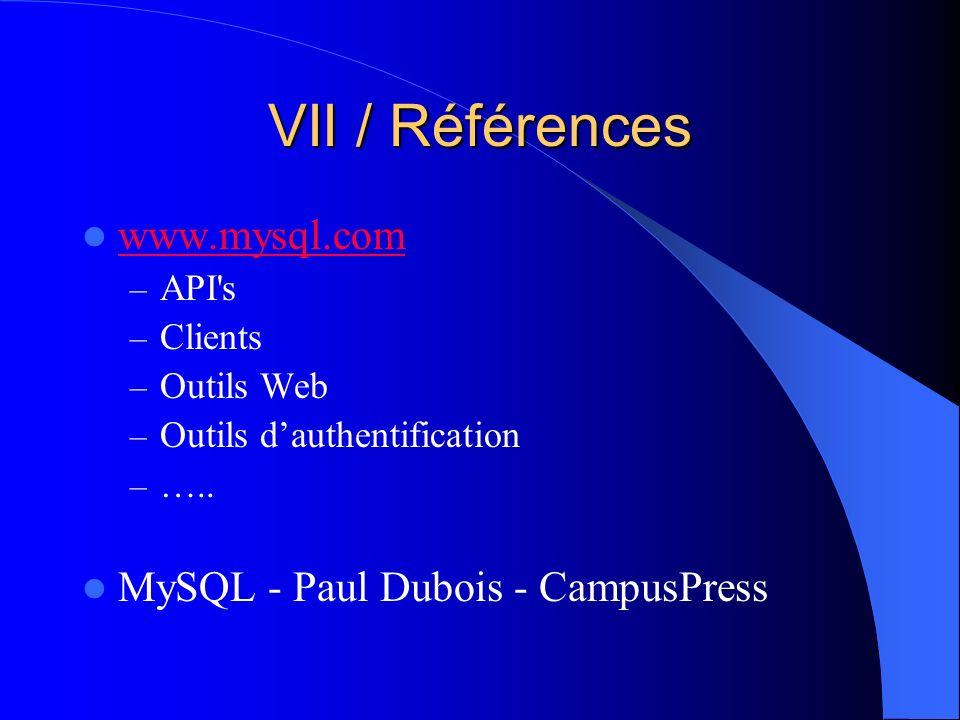VII / Références www.mysql.com MySQL - Paul Dubois - CampusPress API s