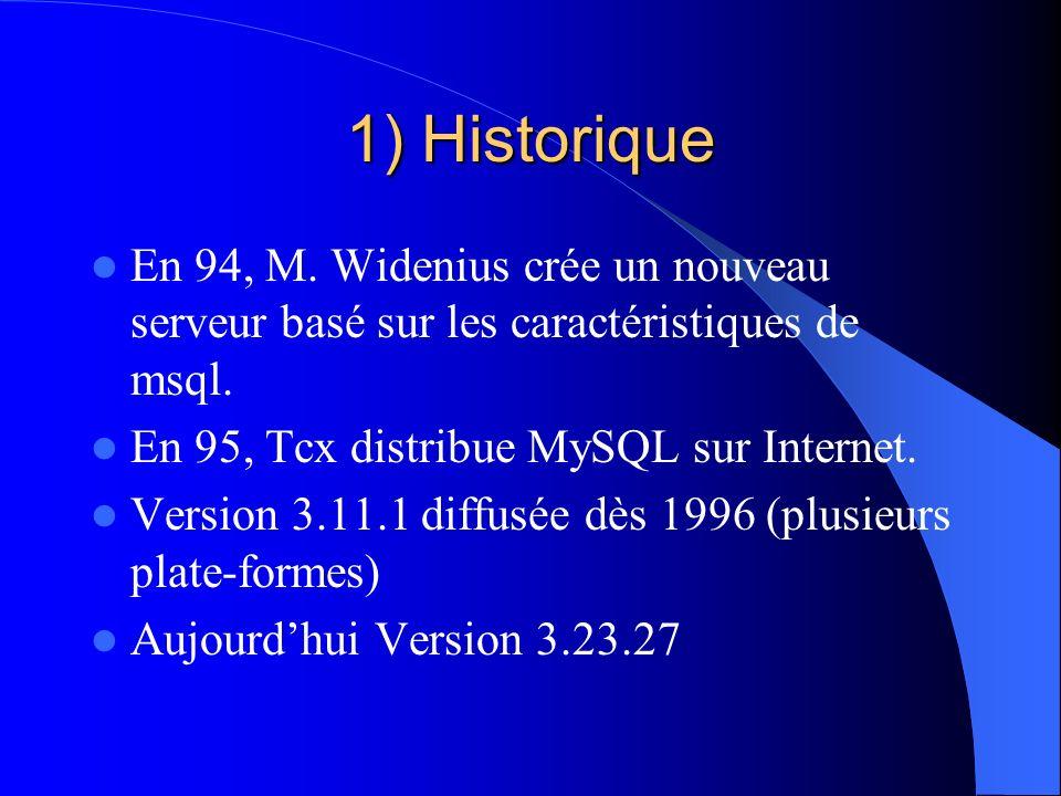 1) Historique En 94, M. Widenius crée un nouveau serveur basé sur les caractéristiques de msql. En 95, Tcx distribue MySQL sur Internet.